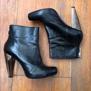 TOPSHOP Black Leather Wood Lucite Ankle Booties